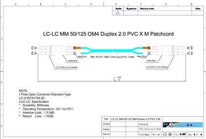 Picture of OM4 LC-LC Multi-Mode Aqua Fiber Patch Cable 50/125 10G 2.0mm